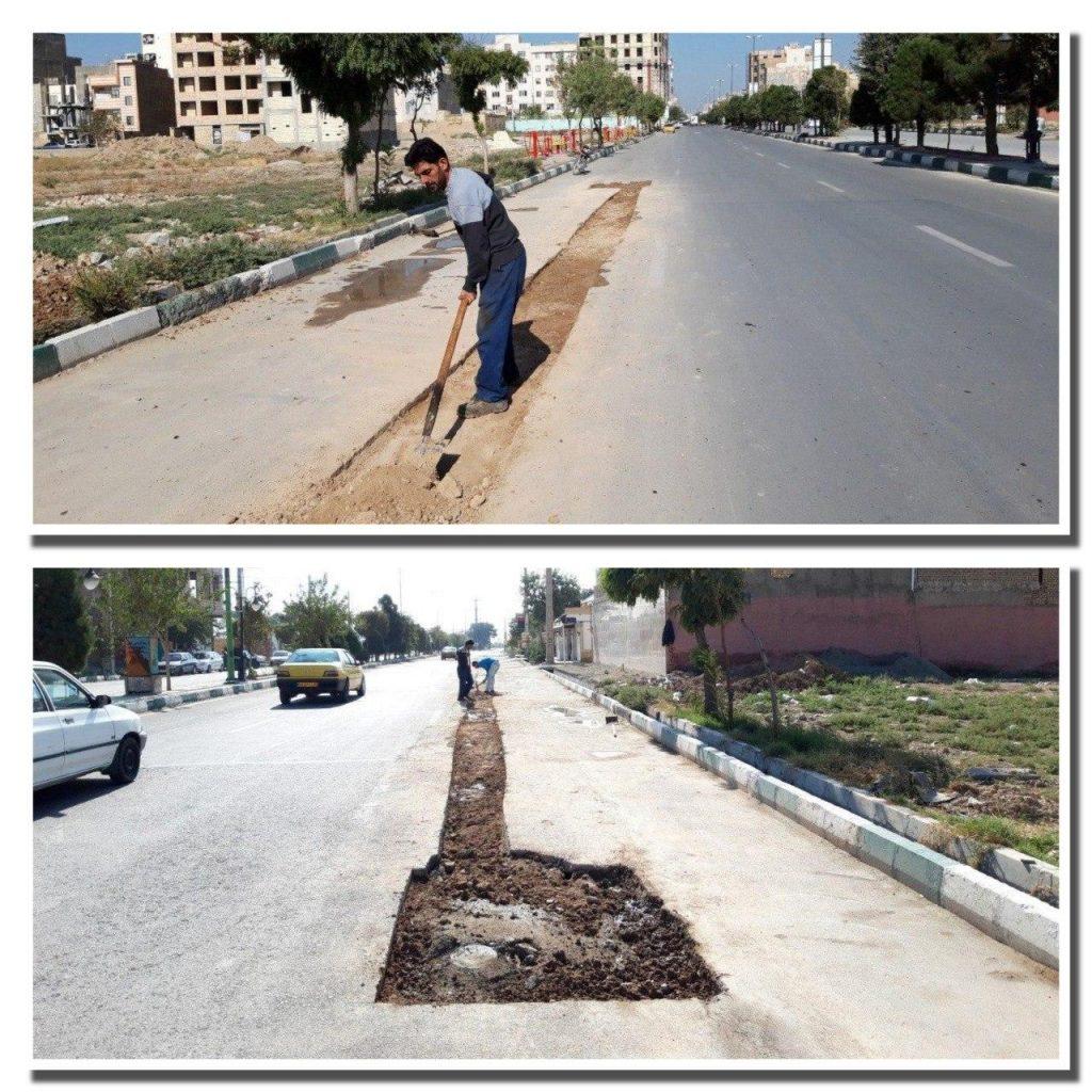 اجرای عملیات ساماندهی و زیرسازی نوار حفاری خیابان سی متری ولیعصر(عج)