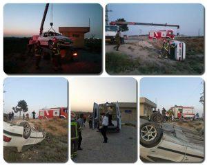 واژگونى پژوپارس در جاده درختى امام زاده باقر(ع) / سرعت غیرمجاز علت بروز حادثه بود