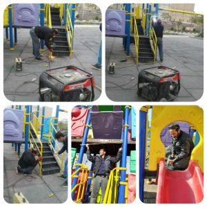 نگهداری مستمر از لوازم بازی کودکان در سراسر بوستان های شهر صالحیه